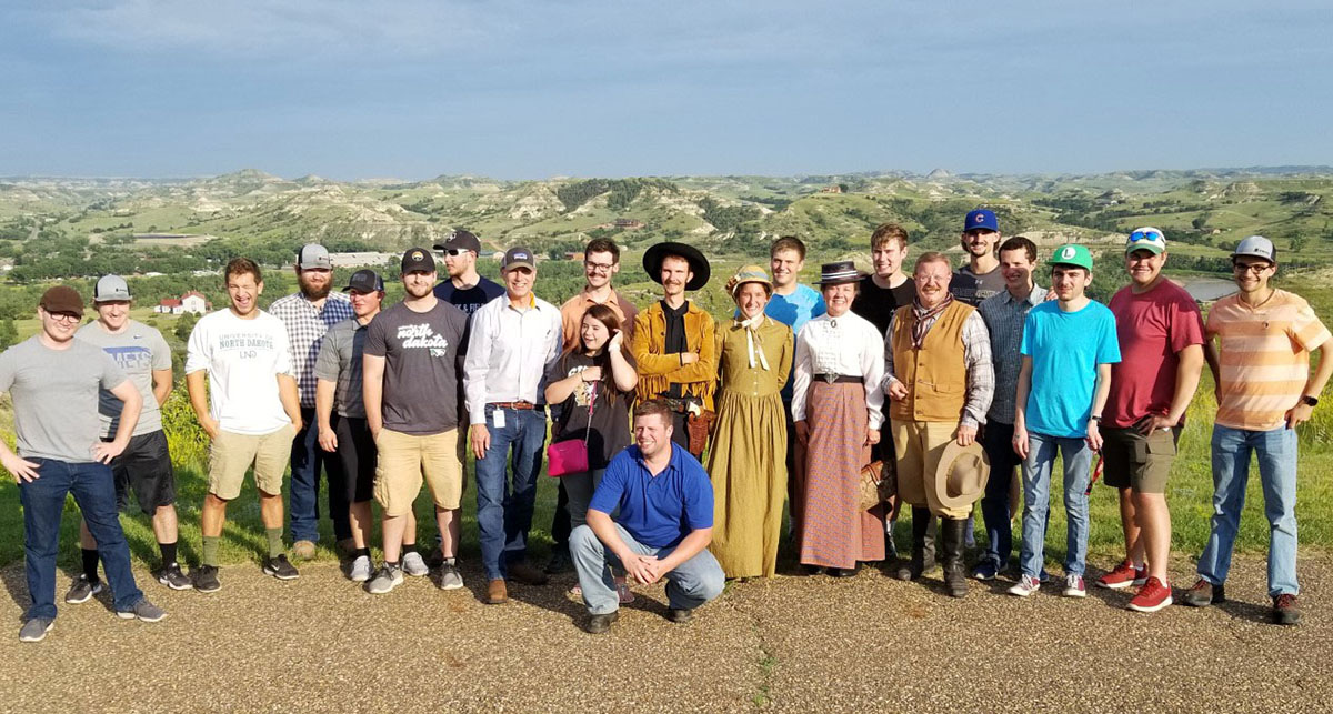 Steffes interns 2019 posing for a group photo in Medora