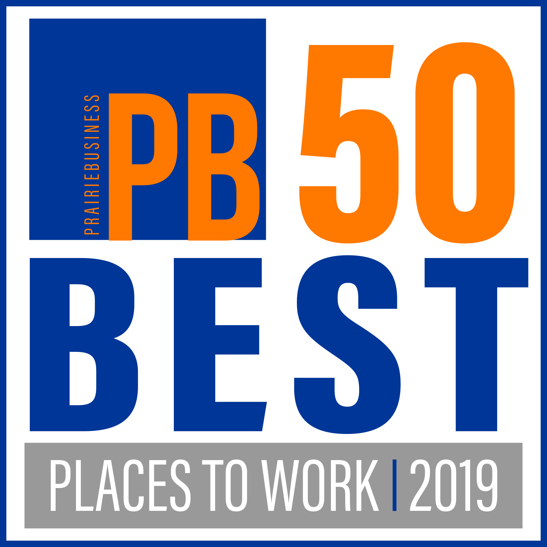 Logo for Prairie Business Magazine best places to work for the year 2019