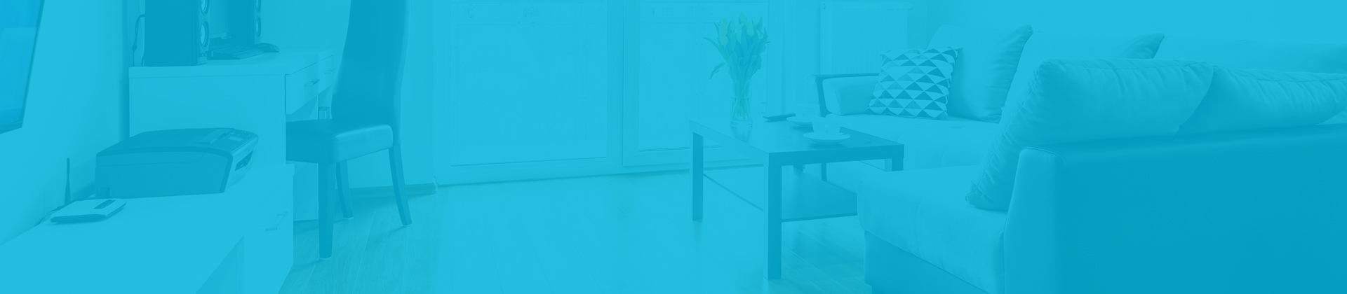 A photo of a home in the living room with a teal blue overlay