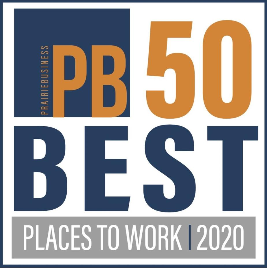A photo of the logo for Prairie Business Magazine best place to work for the year 2020